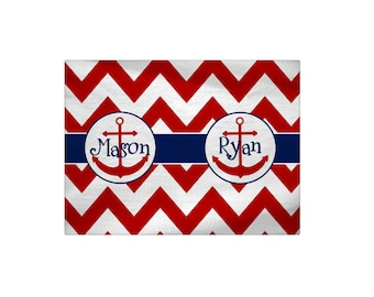 Personalized Chevron Anchor Bath Mat