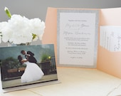 Peach and Silver Invitation set