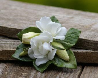 Gardenia Hair Clip White Real Touch