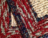 Set Of Hand Hooked Pot Holders, 7.5 x 7.5 Inch, Two Americana Table Mats, Red White And Blue Pot Holders, Kitchen Table Mats