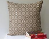 Geometric Pillow Cover, Linen Euro Sham, Linen/Cotton Throw Pillow, Taupe and White