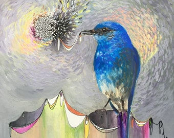 Secret Pact bluebird painting mixed media panel ready to hang
