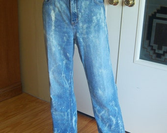 "Ladies ""Eddie Bauer"" Denim Jeans, Faded Bleached Out Grunge Jeans, Size 8 Short, Upcycled Jeans, 100% Cotton, Unique, Hippie Jeans, Unisex"
