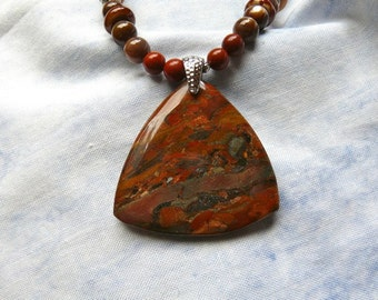20 Inch Red and Brown Brecciated Jasper Pendant Necklace with Earrings