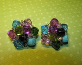 Vintage West Germany Silver Tone Pastel Colored Cluster Clip On Earrings