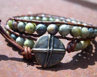 Wrap Bracelet, Beaded wrap bracelet, Beaded leather wrap, Double Wrap bead bracelet, Boho bead wrap - 716