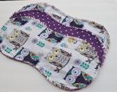 Burp cloths chevron, contoured burp cloths, ragged edges,  flannel burp cloth, burp rags, burpcloth, set of 3, polka dots, owls, flowers