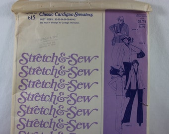 Stretch & Sew 615 Classic 1970's Cardigan Sweaters Designed by Ann Person Bust Sizes 32 to 42