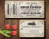 Steampunk Printable Train Ticket Invitation and RSVP, Invitation for Wedding at Train Station, Industrial Wedding, Vintage Ticket Invite