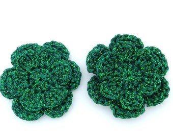 Christmas appliques, 2 green two-layer shiny crochet flowers, cardmaking, scrapbooking, appliques, craft embellishments, sewing accessories