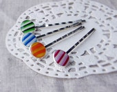 striped hair pin - striped bobby pin