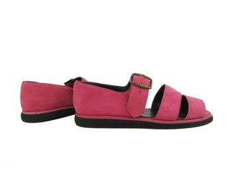 SALE % Pink Suede Chunky Strap Vintage Sandals