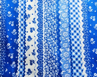 white and blue floral stripe print vintage cotton fabric -- 42 wide by 2 1/4 yards