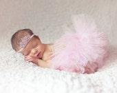 Light Pink Tutu and Matching Pink Rhinestone Couture Princess Tiara Headband (SET) - NEWBORN size - Beautiful Newborn Girl Photo Prop