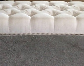 "Decorative Tufted Bench with Nailhead Border- 60"" long"