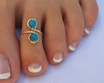 Genuine Turquoise and Sterling Silver Wire Wrapped Adjustable Ring/Toe Ring