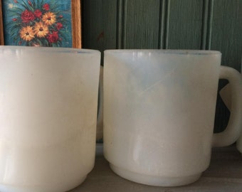 Glasbake Mug, Opalescent Translucent White Milk White Glass