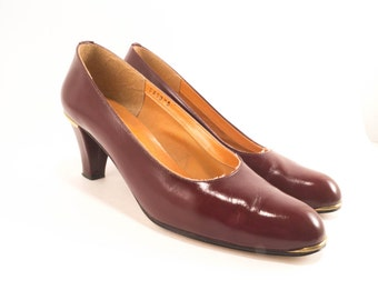 Vintage Designer Pumps Red Oxblood Leather Etienne Aigner Made in Italy Size 7