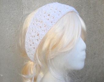 White Knit Headband, Tie Back, Lacy, Hippie Boho Gypsy Hipster, Summer