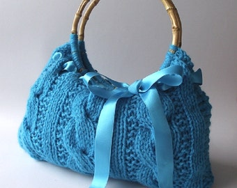 KNITTING BAG PATTERN - Lucia Bag - Knit Cable Handbag with Bow Instant Dowload pdf file Medium Size Bag Knitted Bow handbag pattern