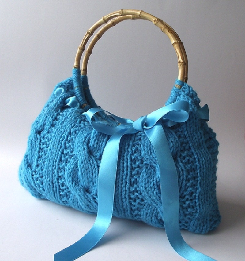 KNITTING BAG PATTERN Lucia Bag Knit Cable Handbag with Bow