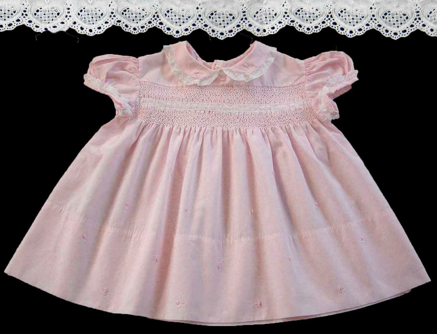 Vintage Baby Clothes Girls Pink Dress Smocked Embroidered