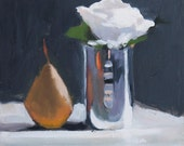 White Rose Still Life Painting, Oil paint on wood panel, 10x10 inch Canadian Fine Art