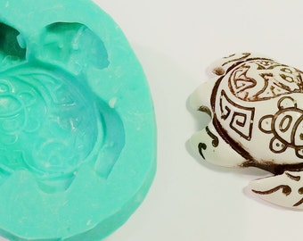 Large, Tribal TURTLE, SILICONE MOLD, Resin, Polymer clay mold, Hot Glue Mold, High Temp, Soap, flexible 3D mould tribal markings turtle 2.5""