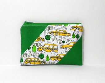 Zipper Pouch, Green with Taxi Cabs, One of a Kind