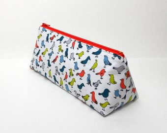 SALE- Pencil Case, Small Birds, Art Supplies Pouch, One of a Kind