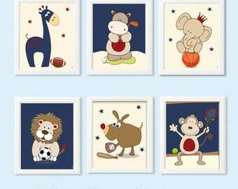 Boys Nursery Art,Animals playing sports, set of 6 art prints, nursery decor,art prints,posters,art for boys nursery,kids art, nursery decor