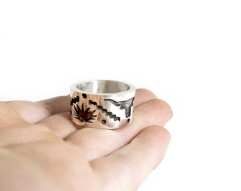 White Gold Southwestern Longhorn, Agave Ring - Mens Ring - Cowboy Ring - White Gold Southwest Mans Ring - Gold Overlay Ring - Country Ring