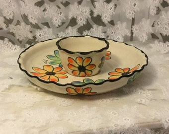Vintage Pottery Chip and Dip Servingware Floral Pottery Serving Dish