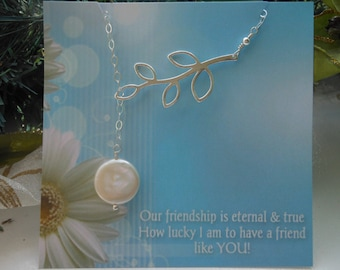 Sterling Silver Lariat, Y Drop Necklace, Silver Leaf Branch, Freshwater Pearl Necklace, Gifts for Best Friends,Sterling Silver Jewelry