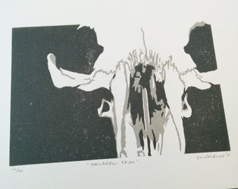 "Original reduction linocut block print: ""Squirrel Skull"" - limited edition hand pulled fine art block print (6 x 8"" - unframed)"