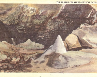 Vintage Linen Postcard....The Frozen Fountain, Crystal Cave, PA....Unused...no. 2019