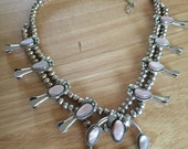 Old Pawn Sterling Silver Pink Mussel Shell  SQUASH BLOSSOM NECKLACE  make offer!!!  resevered for Marissa