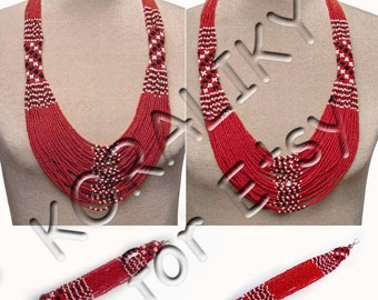 Red (dark or light) /White /Black. Traditional Ukrainian  Beads NECKLACE, BRACELET.