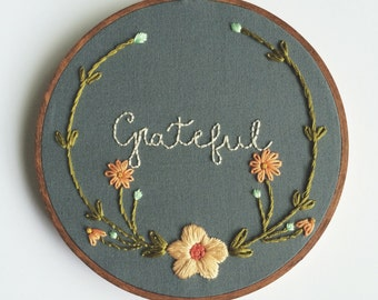 "Grateful Floral Bloom 6"" Hoop"