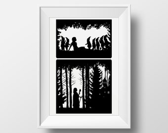 Snow White & the seven Dwarves Wicked Stepmother Fairytale Illustration, Giclee Archival Print with or without Mount, fine art for your wall