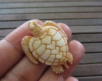Hand Carved Adorable Little Turtle, side drilled on his  head , Natural Component, Jewelry making Supplies S5267