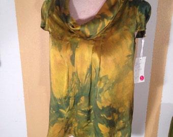 S Silk Cowl Neck Green & Gold