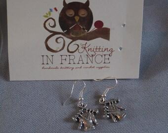 Sweater on knitting needles earrings - jewelry for knitters - earrings with knitted sweater