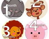 month to month baby stickers - Baby monthly stickers 1 to 12 months - Bodysuit Romper Stickers - Monthly Baby Stickers - ANIMAL FACES 2