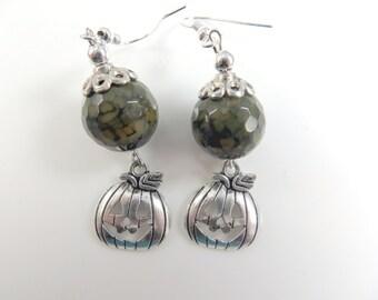 Green pumpkin halloween earrings