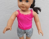 "18"" Doll Clothes -American Girl Doll -Our Generation Doll  - Doll Tank Top and Shorts Set - Pink Tank Top and Black and White Shorts for 18"""