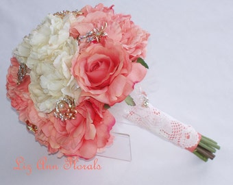 Coral Brooch Silk Bouquet, ON SALE, Jeweled Wedding Bouquet Silk Flower Wedding Bouquet Bridal Bouquet Silk Peonies, Ready To Ship