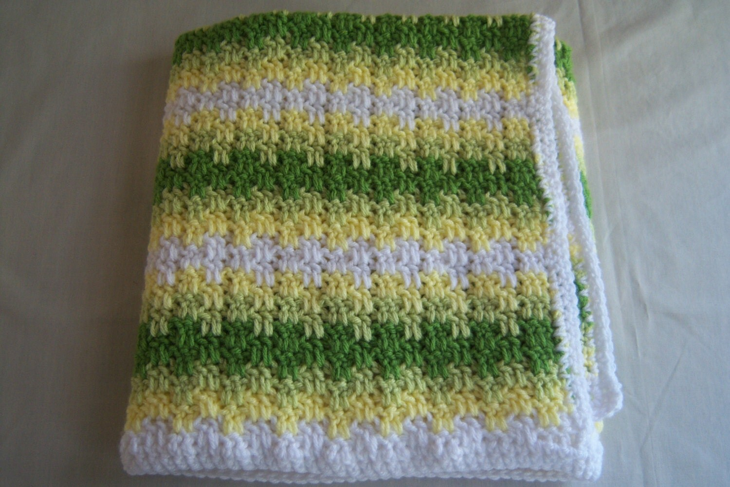 Crochet Baby Blanket Gender Neutral / Green and Yellow