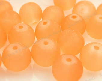 10mm Light Orange Frosted Glass Beads - 20pcs - Round, Red Violet, Matte Glass - BE21