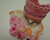 Handmade Beaded Crochet Cuff - Lace - Colorful Beaded Crochet Bracelet and Flower Patterns